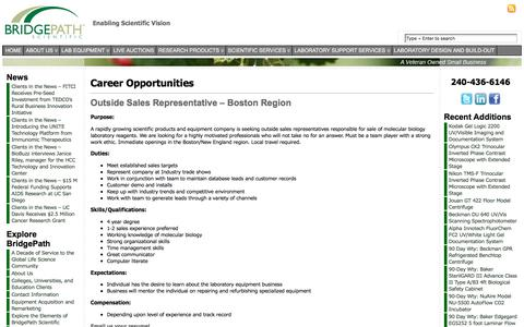 Screenshot of Jobs Page bridgepathscientific.com - Careers | BridgePath Scientific - captured Aug. 3, 2018