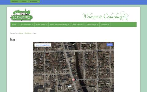 Screenshot of Maps & Directions Page cedarburg.wi.us - Map | City of Cedarburg - captured Oct. 2, 2014