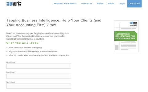 Screenshot of Landing Page sageworks.com - ProfitCents   Tapping Business Intelligence - captured Oct. 30, 2018
