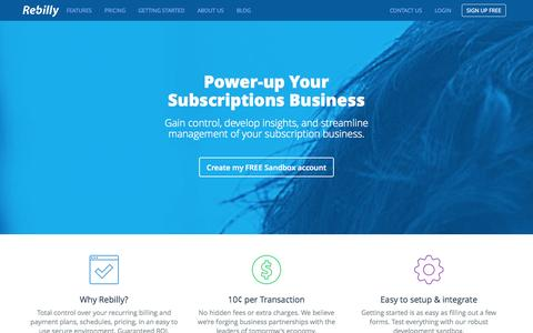 Screenshot of Home Page rebilly.com - Recurring Billing & Payments Made Easy | Rebilly - captured Sept. 22, 2014