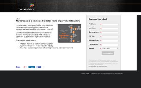 Screenshot of Landing Page channeladvisor.com - Multichannel E-Commerce Guide for Home Improvement Retailers | ChannelAdvisor - captured March 3, 2016