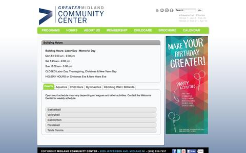 Screenshot of Hours Page mymcc.org - Hours - captured Feb. 13, 2016