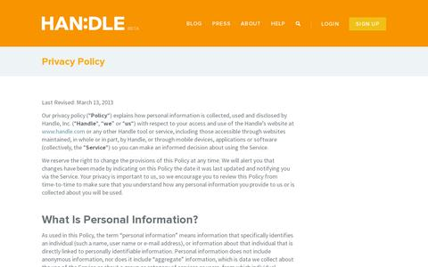 Screenshot of Privacy Page handle.com - Privacy Policy » HANDLE - captured July 18, 2014