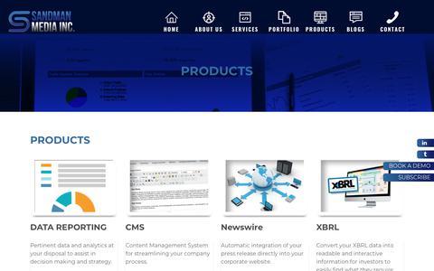 Screenshot of Products Page sandmanmedia.com - Sandman Media Inc. - PRODUCTS - captured Oct. 2, 2018