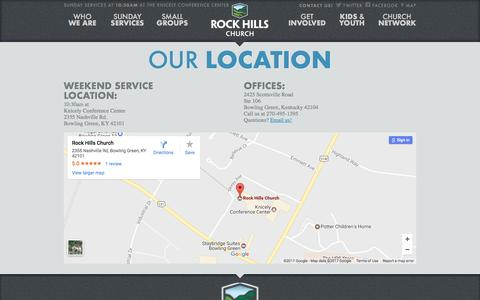 Screenshot of Contact Page Maps & Directions Page rockhillschurch.com - Rock Hills Church - captured Feb. 28, 2017