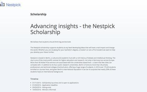 Nestpick - Advancing insights - Nestpick Scholarship • Nestpick