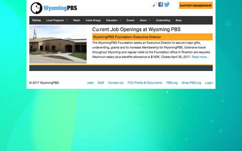 Screenshot of Jobs Page wyomingpbs.org - WyomingPBS - Jobs - captured April 10, 2017