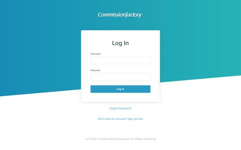 Screenshot of Login Page commissionfactory.com - Log In - captured July 20, 2018