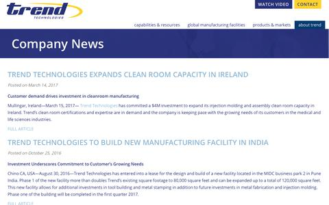 Screenshot of Press Page trendtechnologies.com - Company News   Trend Technologies - captured Nov. 8, 2017