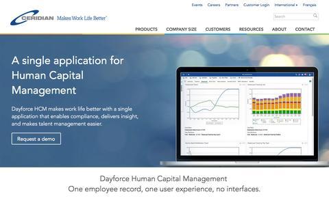 Screenshot of Products Page ceridian.ca - Human Capital Management | HCM Software Solution | Dayforce | Ceridian - captured Sept. 6, 2016