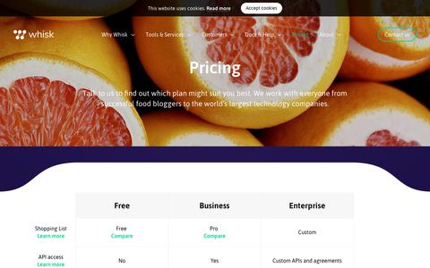 Screenshot of Pricing Page whisk.com - Pricing - Whisk - captured Sept. 22, 2018