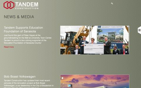 Screenshot of Press Page tandemconstruction.com - News & Media | Tandem Construction - captured Nov. 5, 2014