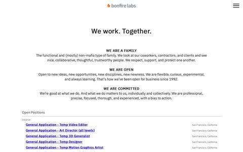 Screenshot of Jobs Page bonfirelabs.com - Careers   Bonfire Labs   Share Your Portfolio and Resume - captured Nov. 6, 2018
