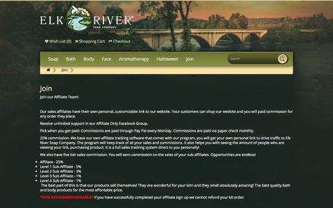 Screenshot of Signup Page elkriversoapcompany.com - Join - captured Sept. 25, 2018