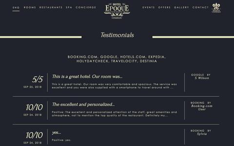 Screenshot of Testimonials Page hotelepoque.ro - Hotel Guest Reviews - Testimonials Epoque Hotel Bucharest - captured Sept. 28, 2018