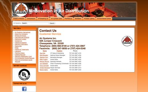 Screenshot of Contact Page airsystems.com - Contact Us - captured Oct. 1, 2014