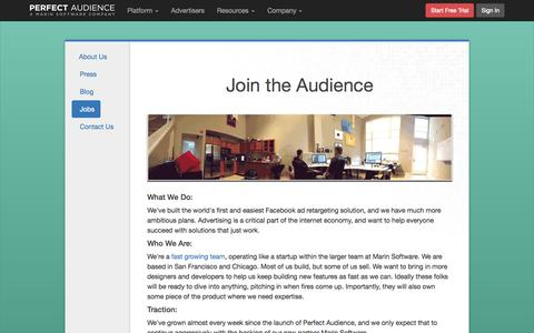 Screenshot of Jobs Page perfectaudience.com - Work at Perfect Audience - - captured June 17, 2015