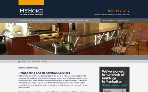 Screenshot of Services Page myhomeus.com - NYC Renovation Services – MyHome Design + Remodeling - captured Feb. 15, 2016