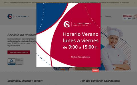 Screenshot of Home Page csuniformes.com - Uniformes y vestuario laboral | CS Uniformes - captured July 14, 2018