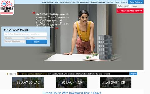 Screenshot of Home Page investors-clinic.com - Buy Sell Residential Commercial Property Apartments Flats in Noida- India - captured Aug. 5, 2015