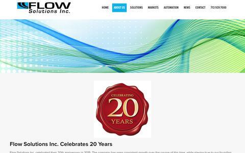 Screenshot of About Page flowsolutionsinc.com - About Flow Solutions Inc. - Flow Solutions, Inc - captured Aug. 18, 2018