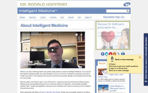 Screenshot of About Page drhoffman.com - About Intelligent Medicine | Health Care - captured Sept. 23, 2018