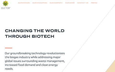Screenshot of Home Page ductor.com - Changing the world through biotech - Ductor - captured Nov. 14, 2018
