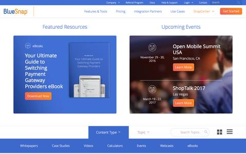 Screenshot of Case Studies Page bluesnap.com - Snap Center | BlueSnap - captured Nov. 22, 2016