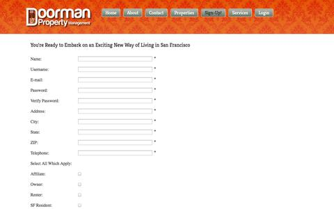 Screenshot of Signup Page doormansf.com - You're Ready to Embark on an Exciting New Way of Living in San Francisco - captured Oct. 5, 2014