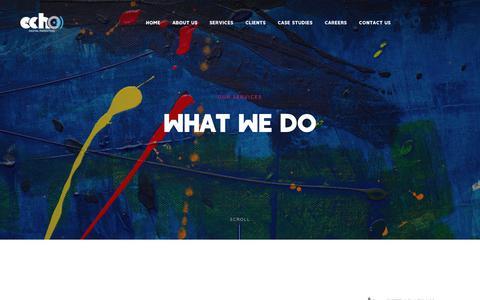 Screenshot of Services Page echodmc.com - Services | Digital Marketing Solutions | Echo Digital - captured Feb. 27, 2019