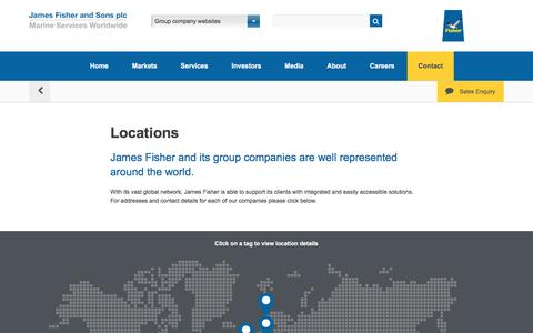 Screenshot of Locations Page james-fisher.com - James Fisher and Sons plc - Locations - captured Nov. 26, 2016