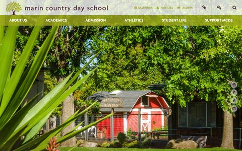 Screenshot of Home Page mcds.org - Marin Country Day School - captured Feb. 4, 2016