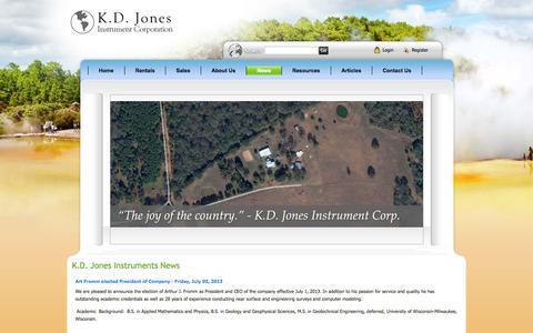 Screenshot of Press Page kdjonesinstruments.com - Geophysical Instruments for Subsurface Imaging Rentals- K.D. Jones Instruments > News - captured Oct. 6, 2014
