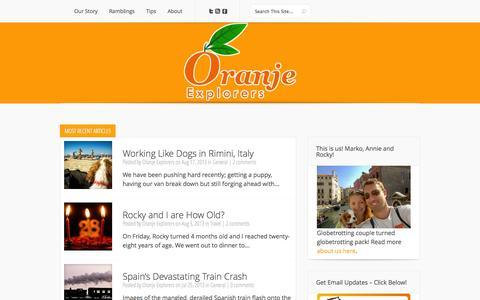 Screenshot of Home Page oranjeexplorers.com - Oranje Explorers   We Eat. We Travel. We Create. - captured Sept. 30, 2014