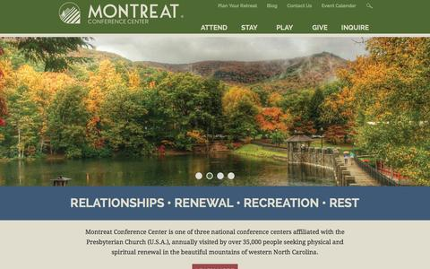 Screenshot of Home Page montreat.org - Montreat Conference Center | Montreat NC - captured Feb. 14, 2016