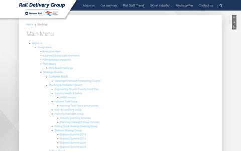 Screenshot of Site Map Page raildeliverygroup.com - Site Map   Rail Delivery Group - captured July 28, 2018