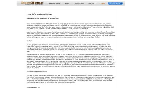 Screenshot of Terms Page docuhome.com - Legal Information and Notices : Household Inventory : Home Inventory Software MAC : DocuHome.com - captured Sept. 30, 2014