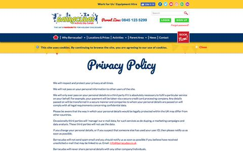 Screenshot of Privacy Page barracudas.co.uk - Privacy Policy - captured June 27, 2017