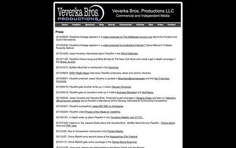 Screenshot of Press Page veverkabros.com - Press - captured Oct. 26, 2014
