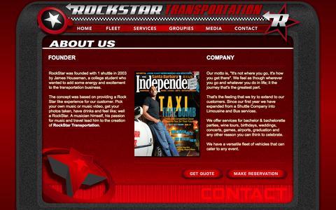 Screenshot of About Page rockstarsb.com - Rockstar Transportation 2012 - Contact : About Us - captured Nov. 5, 2014