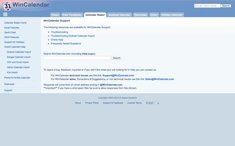 Screenshot of Support Page wincalendar.com - WinCalendar Support - captured Aug. 21, 2016