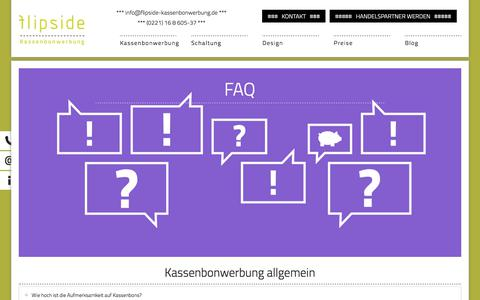 Screenshot of FAQ Page flipside-kassenbonwerbung.de - FAQ - günstige Kassenbonwerbung mit flipside - captured June 6, 2017