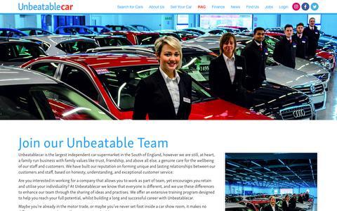 Screenshot of Jobs Page unbeatablecar.com - Jobs | Unbeatablecar Supermarket - captured Oct. 26, 2017