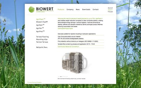 Screenshot of Products Page biowert.de - BIOWERT - bio based industry - captured Oct. 5, 2014