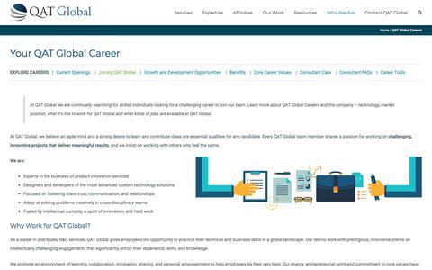 Screenshot of Jobs Page qat.com - QAT Global Careers - captured Sept. 26, 2018