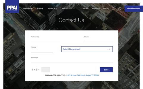 Screenshot of Contact Page ppai.org - Contact - captured June 28, 2017