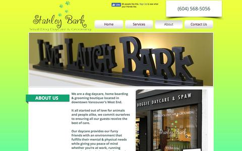 Screenshot of About Page stanleybark.com - Stanley Bark | Dog Daycare, Grooming and Boarding - captured Nov. 4, 2017