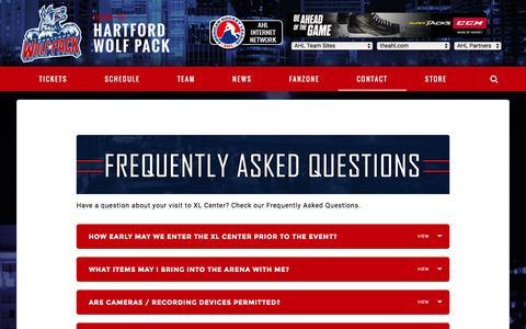 Screenshot of FAQ Page hartfordwolfpack.com - FAQs | Hartford Wolf Pack - captured Jan. 4, 2017
