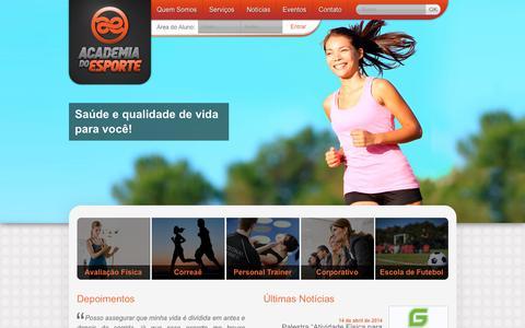 Screenshot of Home Page academiadoesporte.com.br - Academia do Esporte | Espa�o criado para o seu bem estar f�sico, mental e social! - captured Dec. 23, 2015