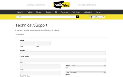 Screenshot of Support Page apollovalves.com - Contact Us :: apollovalves.com - captured Feb. 6, 2016